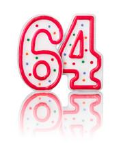 Rote Nummer 64 mit Reflexion