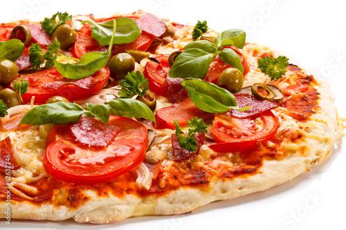 Fotobehang Restaurant Pizza on white background