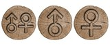 Male and female signs, wooden label