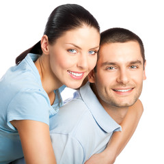 Happy smiling attractive young couple, isolated