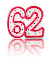 Rote Nummer 62 mit Reflexion
