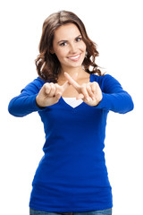 Young woman with stop gesture, isolated
