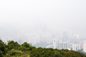 Hong Kong island obscured by haze