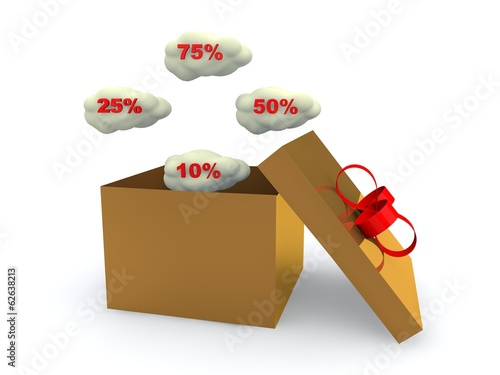 Discount  percent off. 3D illustration.
