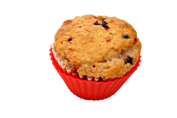 Healthy Berry Muffin Isolated Over White