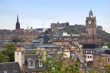Edinburgh vista from Calton Hill including Edinburgh Castle, Bal