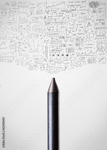 Crayon close-up with diagrams