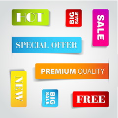 Set of commercial sale stickers