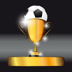 Soccer ball and trophy background for victory idea concept