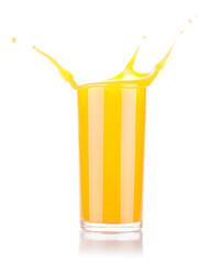 Fresh orange juice in glass with splash