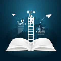 Infographic climbing ladder book diagram creative paper cut