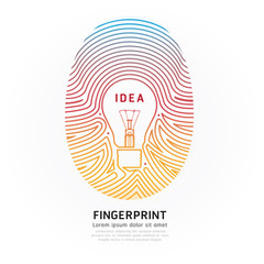 Fingerprint lightbulb color vector illustration.