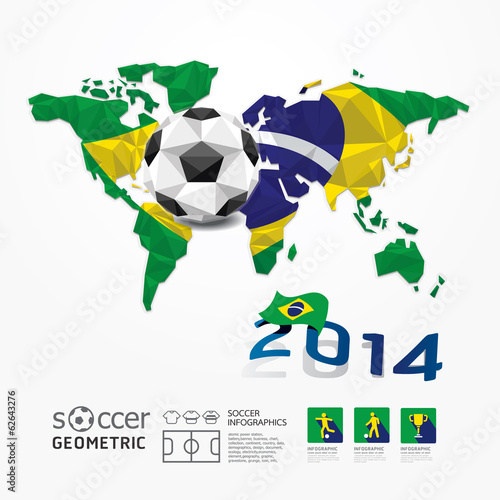 Soccer ball Geometric on Flag of Brazil 2014.Vector Illustration