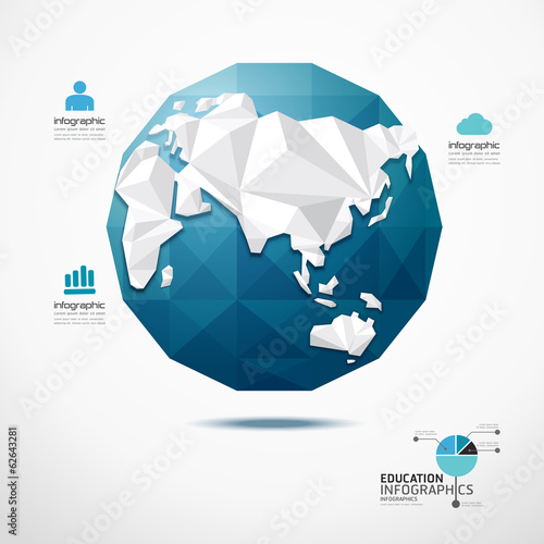 globe world map illustration infographics geometric concept desi