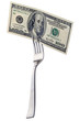 Hundred dollars on a fork