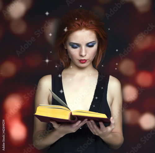 woman reading book. Education