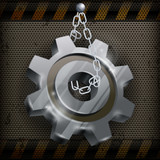 Gear with chain on metal, mechanical vector illustration