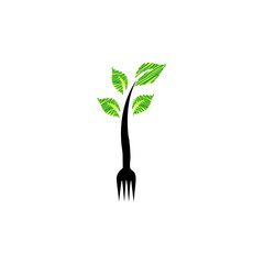 Fork with green leaves- Logo for organic food
