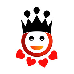 Smiley with red hearts and a crown