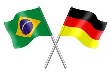 Fahnen: Brasilien und Deutschland