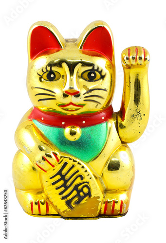 Gold Maneki Neko Japan Lucky Cat, Isolated with Clipping path2