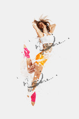 Shattered dancer.image of female dancer jumping. Shatterd