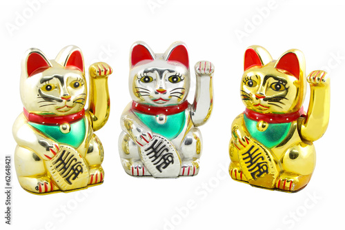 Triple Maneki Neko Japan Lucky Cat, Isolated with Clipping path