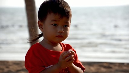 beautiful thai child portrait, backlight
