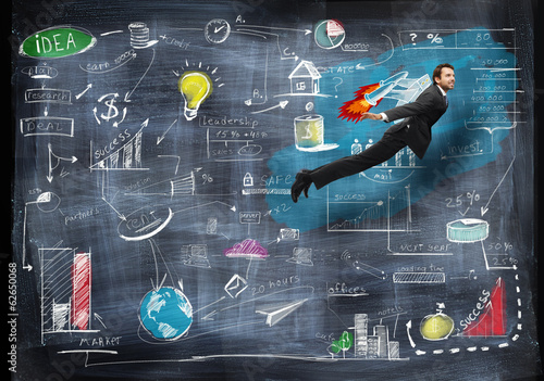 Businessman flying with rocket backpack trough business strategy