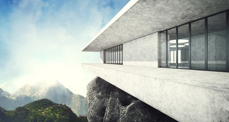 Contemporary luxury house with mountains view