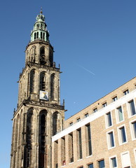 Martini tower and the new student sociëty in Groningen