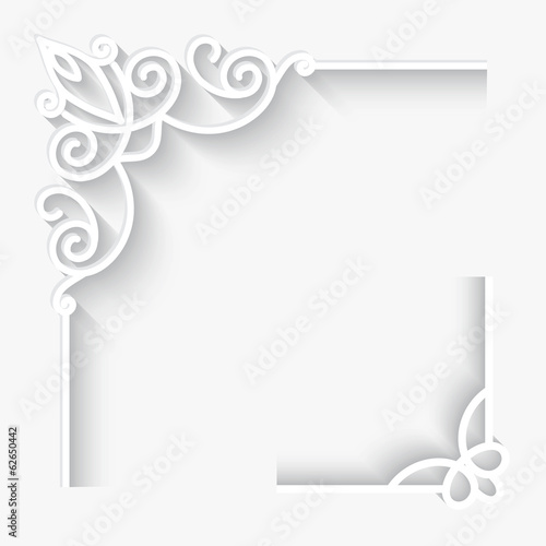 Set of paper corner ornaments on white background