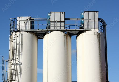 Silo's against a blue sky. The Netherlands