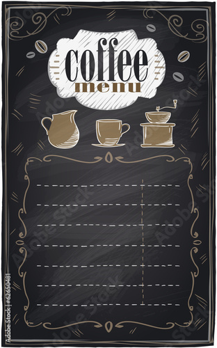 Vintage chalk coffee menu.