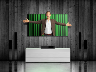 man jumping from TV screen