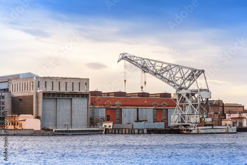 Big industrial floating crane on Neva river, St.Petersburg
