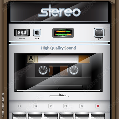 Vector retro Stereo Radio Cassette Recorder close-up