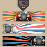 Vector retro car banner set
