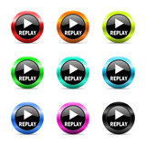 replay icon vector set
