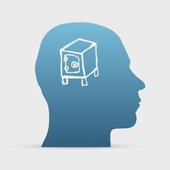 Human head with hand drawn safe deposit box icon