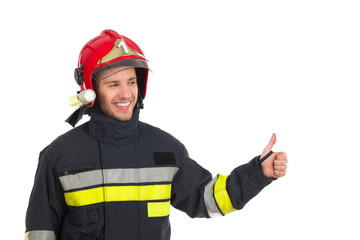 Firefighter showing thumb up
