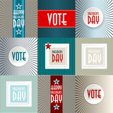 Set of  vote and Presidents Day American Background
