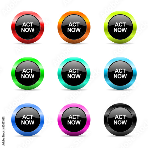 act now icon vector set