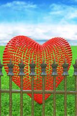 Herz hinter Zaun - 3d Render