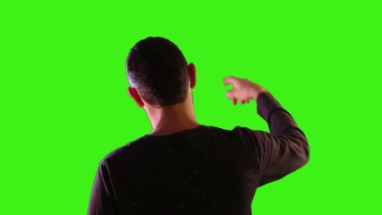 Hands up in the air over green screen background