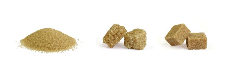 sucre roux en poudre et en morceaux