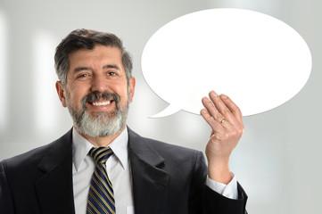 Hispanic Businessman With Sign