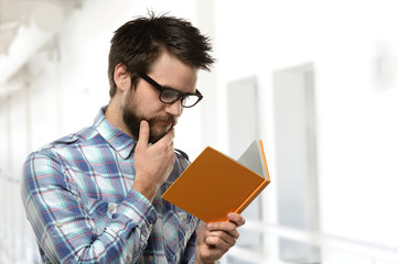 Bearded Young Man Reading