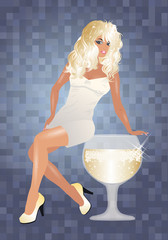 Sexy blonde girl and wine glass, vector illustration