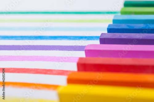 Colourful pastels closeup